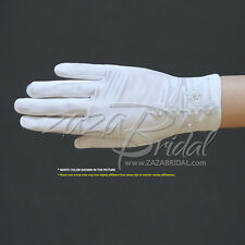 Girl's White Satin Gloves with Daisy Flowers Cross & Pearls