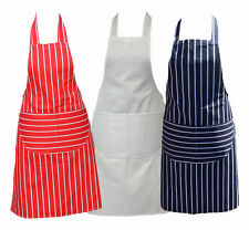 New Professional Butcher Catering Cooking Chef Apron 100% Cotton With Bib Pocket