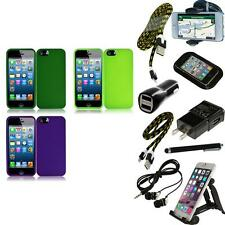 For Apple iPhone 5 Rubberized Matte Snap-On Hard Case Phone Cover + Bundle