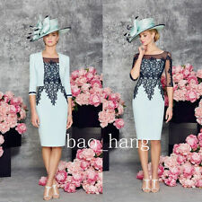 Two Piece Dress Suits Mother Of Bride Knee Length New Formal Evening Outfit Gown