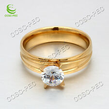 Wholesale Lots 10-36pcs Jewelry Resale Zirconia Golden Stainless Steel Rings