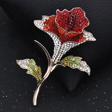 Luxury Rhinestone Red Rose Flower Brooch Pin Wedding Pin jewelry With Gift Box