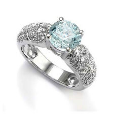 Aquamarine and Diamond Engagement Ring in 14k Wite Gold Sizes 4 to 9.5 #R1273