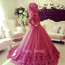 Lace Appliques Muslim Wedding Gown+Hijab High Neck Bridal Dress Red Long Sleeves