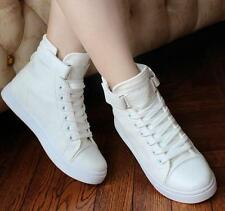 Womens Canvas skate board Sneakers Fashion Lace Up High Top Casual sport Shoes
