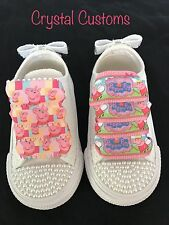 Infants Bling Customised Pearl Peppa Pig White Converse Size 2 3 4 5 6 7 8 9 10