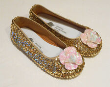COASTAL PROJECTIONS GOLD & IVORY SEQUIN FLOWER GIRLS SHOES FLATS  7 9 11 12 3Yth
