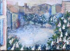 Spring in city ACEO  Original OIL PAINTING DORA PILSSALA, signed