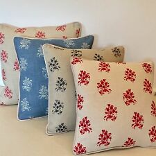 "NEW Kate Forman Agnes Pink, Blue Charcoal or Red Piped 18"" Square Cushion Cover"