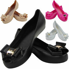 Womens Ladies Flat PeepToe Casual Office Jelly Bow Slip On Shoes Ballerina Pumps