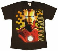Marvel Comics Iron Man Bust Shot Glow In The Dark Brown Youth T-Shirt - (Large)
