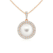 8MM FreshWater Cultured Pearl Diamond Double Halo Pendant Necklace Gold Chain