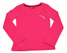 Girls Puma Long Sleeve T-Shirt Top White Dot Print Cerise Pink Age 9 to 14 Years
