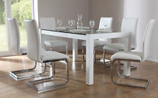 Venice & Perth White Gloss & Glass Dining Table & 4 6 Leather Chairs Set White
