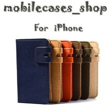LUXURY SUEDE LEATHER FLIP WALLET CASE COVER FOR APPLE IPHONE MODELS