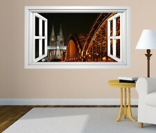 3D Wall Decal Skyline Cologne Bridge Cathedral Window City Sticker 11G114