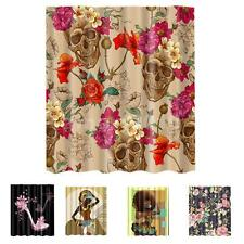 Polyester Fabric Bath Shower Curtain Sheer with 12 Hooks Ring Bathroom Use
