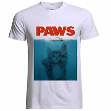 PAWS CLAWS & JAWS PARODY THE TRILOGY CAT KITTEN UNISEX WHITE T SHIRT