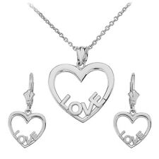 .925 Sterling Silver Open Heart Love Words Pendant Necklace & Matching Earrings