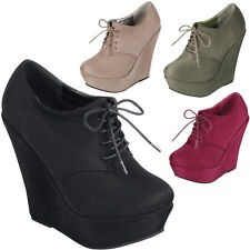 Womens Vegan Suede Round Toe Lace Up Platform Wedge High Heel Ankle Boot Booties