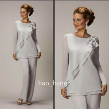 Gray Long Sleeve Pant Suit Mother of Bride Chiffon Formal Party Outfit Pants New