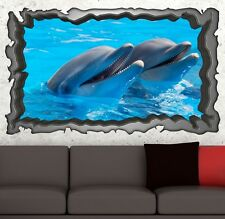 3D Mural tattoo Dolphins Sea Animals Picture Wall Living room Sticker 11E142