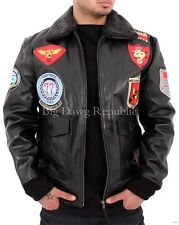 Aviatrix Mens US Pilot Flying Black Leather Jacket Bomber Air Force Wills