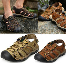 Leather Men Closed Toe Sport Walking Beach Sandals Hiking Outdoor Athletic Shoes