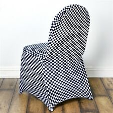 Black and White Checkered Spandex Stretchable CHAIR COVERS Wedding Ceremony