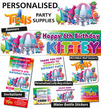 Personalised Trolls Birthday Party Banner Decorations Supplies