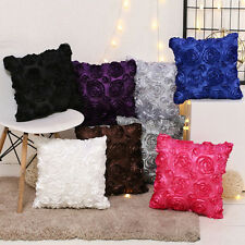 2PCS 3D Rose Floral Cushion Covers Luxury Decorative Throw Pillow Cases 16x16