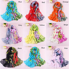 New Girls Womens' Long Soft Wrap Ladies Shawl Silk Chiffon Scarf Scarves W050