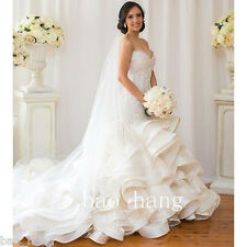 Luxury Pearls Mermaid Wedding Dresses Gowns White Ivory Bridal Gown Custom Made