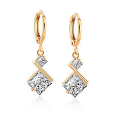 Gold Plated Cubic Zirconia Inlay Charming Dangle Earrings for Women