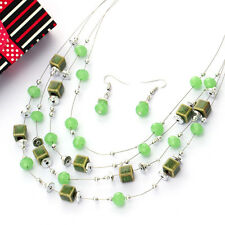 Fashion Jewelry Sets Silver Plated Chain Multilayer Beads Chocker Necklaces