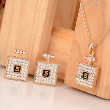 Gold Plated Austrian Crystal Pendant Necklace Drop Earrings For Women