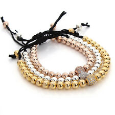 Crystal Charms Copper Beads Bracelets &Bangle Gold/Rose Gold/Silver Bracelet