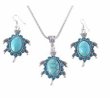Design Plating Silver Pendant Necklace Turtle drop earrings