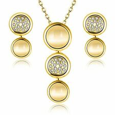 Women Rose Gold Plated Opal Circular Shaped Fashion Necklace Earring Crystal Set