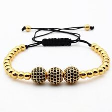 Gold Plated Beads & 10mm Micro Pave Black CZ Beads Bracelet