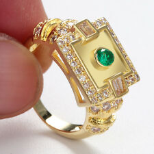 Man Gold Sliver Plated Green White Stone Fashion Square Size 6-9 Rings