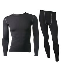 Men Thermal Fleece Underwear Set Compression Tight Hot-Dry Technology Long Johns