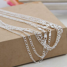 8 Size 2MM 925 Silver Plated Figaro Chains Necklace for Jewelry Charms Pendants
