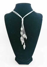 Soft Leather Necklace, Silver Teardrop Pendant. Nickel Free. REDUCED PRICE