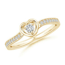 Open Heart H SI2 Round Cut Natural Diamond Promise Ring in 14k Yellow Gold