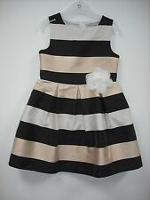 BNWOT Next 'Smart' Stripy Dress - Black, Gold & Cream. Girls. Age 5-11 Years