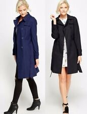 WOMENS LADIES DOUBLE BREASTED MAC BELTED COAT SMART JACKET TRENCH PARKA 8-18