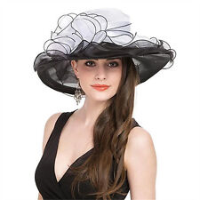 Kentucky Derby Hat Women Summer Wide Brim Double Layer Noble Tea Party Hats
