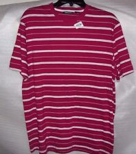 MENS CLAIBORNE CASUAL SHORT SLEEVE  STRIPED SHIRT RED / WHITE  NEW NO TAGS
