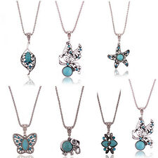 Women Silver Plated Turquoise Butterfly Chain Pendant Necklace Fashion Jewelry